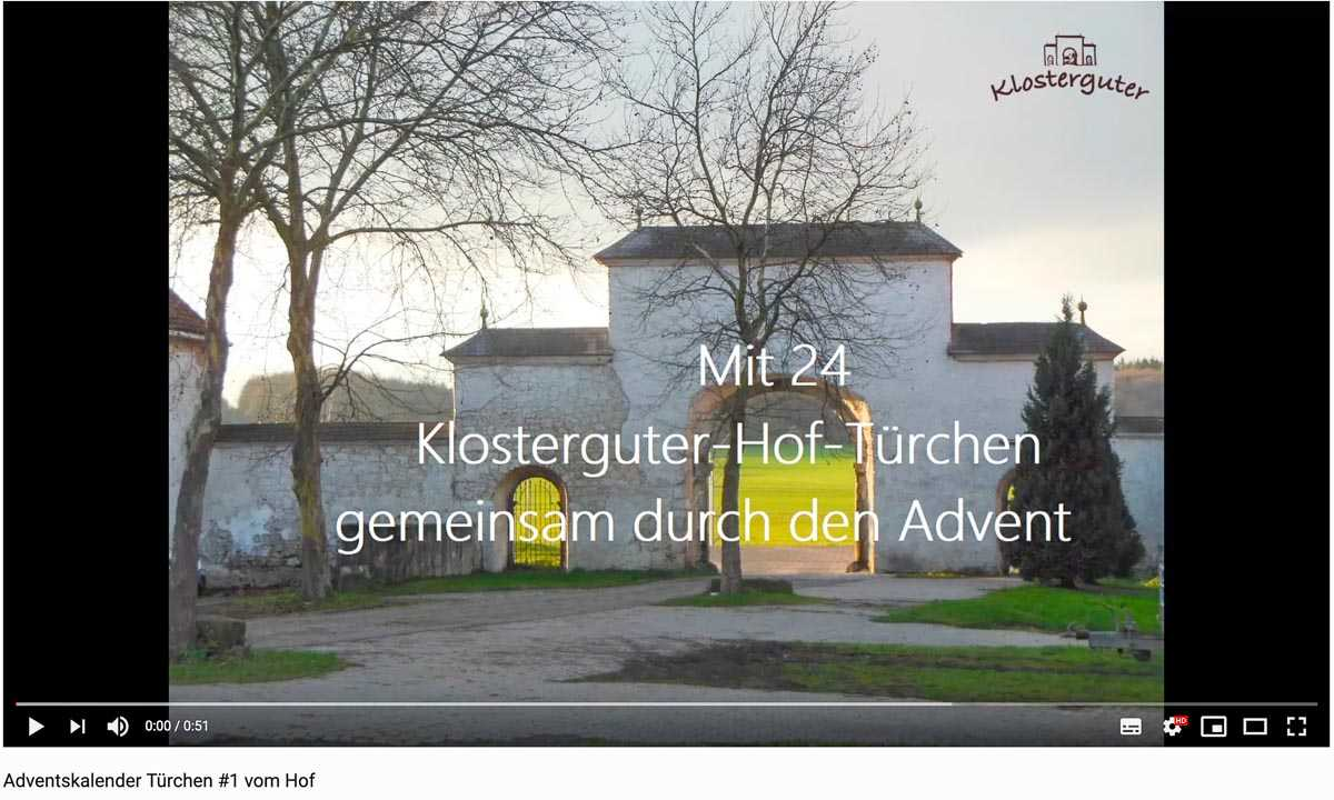 Klosterguter Adventskalender bei Youtube